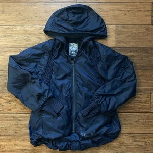 Navy Blue Scrunched Bubble Puffer Jacket